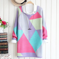 4810 2013 autumn women's loose plus size geometric patterns graphic color block long-sleeve sweater