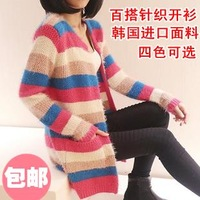 2013 autumn medium-long stripe mohair cardigan women 4colors Free shipping
