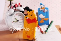 Free shipping Newest Cute Cartoon Duck Dynasty Silicon case kawaii 3D cover Minnie Mickey Mouse Pig Winnie for i phone 5 cases