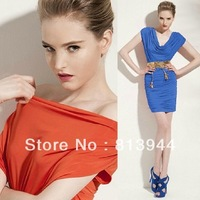 2013 new sexy women bat sleeve slim dress wedding party bridesmaid evening dress Free Code Ship LF013