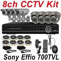 Free shipping ir night vision sony 700TVL cctv indoor outdoor use home security video camera 8ch cctv kit DVR digital recorder