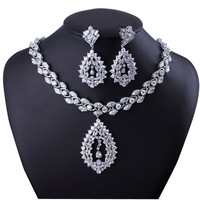 Eleagant Water Drop Shaped Flower Pendant Necklace & Earrings Set Pave Setting Top Quality  Cubic Zirconia Diamond Freeshipping