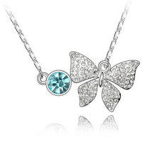 Free shipping hot sale & fashion crystal  bowknot pendant ,sliver plated diamante pendant