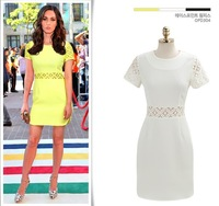New Fashion 2013 Women Celebrity Vintage Lace Short Sleeve Yellow White Black S M L XL Dress 6121