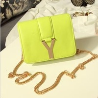 Candy color y chain bag buckle mini one shoulder cross-body small bags