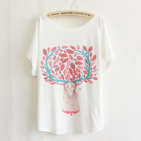 2015 New Summer Women's plus size cute cartoon deer head portrait loose tops blouse batwing Short sleeve T-shirt