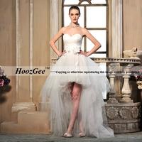 Free Shipping High-end Custom Sweetheart Strapless Higt-Low Design Chapel Train Organza Beading Wedding Dress HoozGee-2310