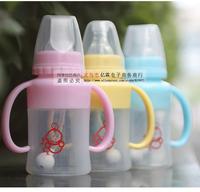 ( 3pcs/lot ) High grade silicone baby feeding bottle small children 120ml standard caliber bottle 1841