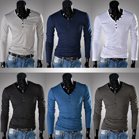 Free shipping unique button design of men's long sleeve T-shirt fashion leisure long-sleeved T-shirt size M - XXL