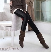 2013 hot sale fashion women hot side stitching small leather leggings stretch pants were thin black leather leggings Wholesale