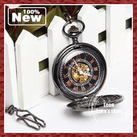 DHL EMS Free 2013 Vintage Two Transparent Skull Mechanical Pocket Watch Unisex Bronze Color Best Festival Gift 10pcs/lot