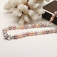Free Shipping Natural pearl necklace 9 mm real product mix colour light nearly flawless heart a second zone_36