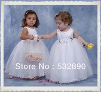 DHL Free shipping a-line tank waist with flowers white organza flower girl dresses long for baby new arrival