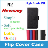 Good fine New Litchi grain newman n2  holster Leather Case Flip cover wallet with logo Free shipping in stock