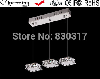 Pendant Light LED imported crystal k9 block modern restaurant lights three heads Hanging lamp crystal lamps led led G4