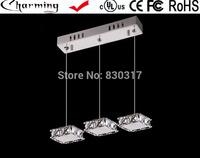 Pendant Light LED imported crystal k9 block modern restaurant lights three heads Hanging lamp crystal lamps led led G4