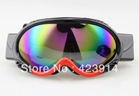 Free shipping Snowmobile Motorcycle Ski Snowboard Goggles eyewear Black And Red Coloured lens