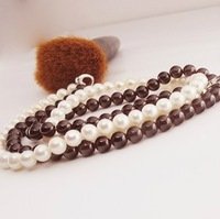 Free Shipping Authentic 7-8 mm natural pearl necklace for women double fancy nearly perfect circle_34