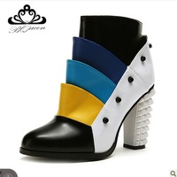 Free shipping  women`s boots Bqueen Candy color rivet rough heels boots Nude shoes 2013 new autumn and winter boots YCY099