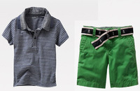 Retail children's suit SS276 boy's polo striped t-shirt+pants 2pcs/set free shipping