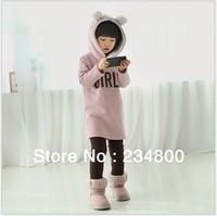 Kids Girls Winter Thick Sweater  Plus Velvet Baby Girl Long Sweater  Free Shipping