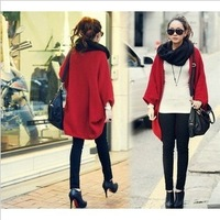 2013Fashion Women Batwing Bat Sleeve Cardigan Sweater Loose Long Cape Coat Knit Crochet Tops Wrap Shawl