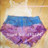 Free shipping women star rivet spike purple blue  denim shorts spike HOT summer jeans shorts