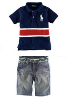 Retail children's suit SS275 boy's polo t-shirt+pants 2pcs/set free shipping