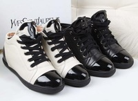 New arrivals free shipping Womens brand real patent leather black white flat heel lace-up leisure sport sneaker ch shoe