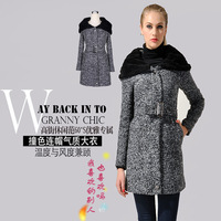 213 new arrive !Pugshop elegant casual fleece with a hood lacing long design slim woolen outerwear