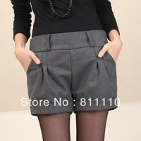 Trend Knitting  2013 New fashion women's thicken short pants Casual woolen fold Slim Winter shorts 7 Colors