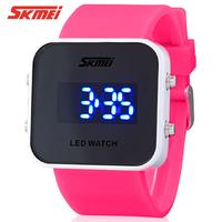 Fashion waterproof led mirror watch trend personality jelly electronic watch female