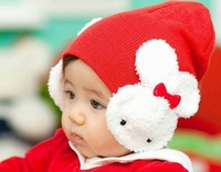 New Arrive 5 colors !!!ear snow hats children beanies hats boys girls warm winter hats caps cute Rabbit wool hat  free shipping