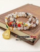 Peach blossom nunatak bracelet female pink crystal buddha maitreya transhipped multi-layer bracelet