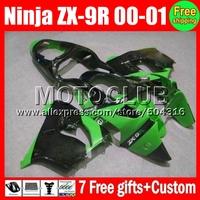 7gifts of KAWASAKI NINJA 00 01 ZX9R HOT Green black M#1747 High Quality ZX-9R 9 R ZX 9R  Green black 2000 2001 Fairing Kits