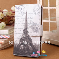 PU leather phone Case Covers for samsung galaxy S2 SII iphone 4 4s 5,folding card holder,printed eiffel towerl,free shippin