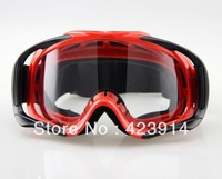 Free shipping Motorcycle ATV Off-Road Eyewear Adult Ski Goggles Red Frame Clear Lens