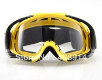 Free shipping Motorcycle ATV Motorcross Off-Road Eyewear Ski Goggle Yellow Frame Clear Lens