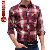 Sunbeam 2013 spring mens casual long-sleeve shirt male slim sanded plaid long-sleeve shirt