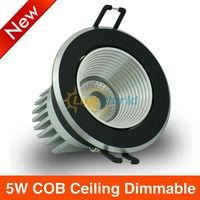 6X/lot  Free Shipping CE SAA Dimmable 5W COB LED Matt black  Ceiling Light 3000K Warm White 4500KNetural White 6000KCool White