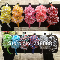 Angel Baby headwear Bling double  Chevron soft chiffon  pearl diamond flower hairband Baby Flower Headbands 20pcs