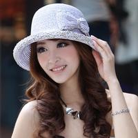 Siggi hat female summer sunbonnet bow flower strawhat women's beach cap sun hat sun hat