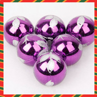 Hot sales! Free shipping!Christmas decoration supplies christmas tree ball 6cm purple silver ball lobbing
