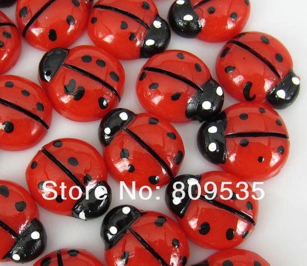 Free Shipping 100pcs Resin Red Ladybug Flatbacks Cabochon Scrapbook Craft(China (Mainland))