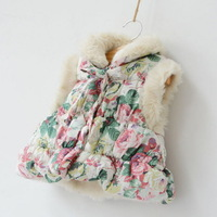 Girls floral vest,children cotton coats,babys winter outerwear,faux fur,flowers,1-6 yrs,4 pcs / lot,wholesale kids clothing,0205