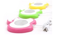 Free shipping LESS  USB insulation disc /pad (green yellow pink) warm milk coffee ABS