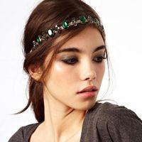 CCF227 Fashion Women Gold Tone Chunky Chain Head Band Piece Crystal Cross Hair Cuff Headpiece Party Wear Accessory