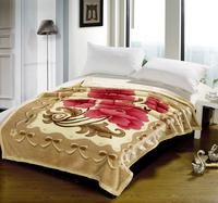 Raschel blanket flower leopard print autumn and winter blanket double layer thickening 100% cotton blanket