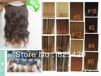 "free shipping wavy 16""-28"" 5clips 1pcs set 100% remy human hair clips in/on extensions 120g 140g 160g"