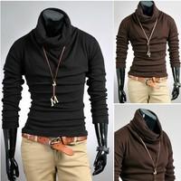 Free Shipping 2013 Autumn and winter men rabbit fur cashmere slim male basic turtleneck sweater M L XL XXL